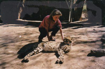 Sarah Schäfer in Namibia in einem Tierreservat. Sie streichelt gerade einen Geparden.